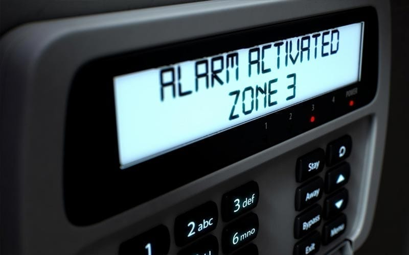 alarm activated on security system