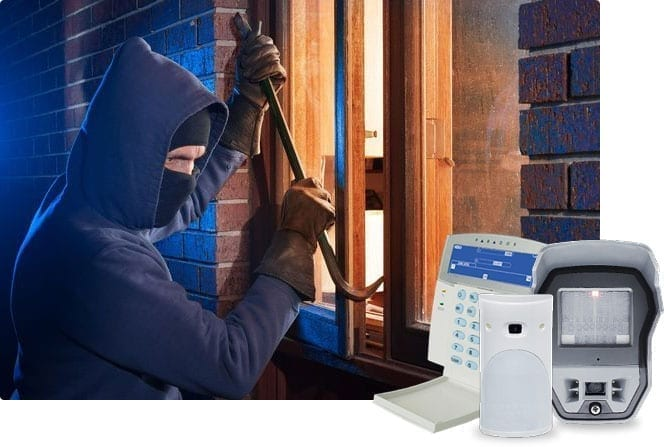 criminal breaking into home with alarm system