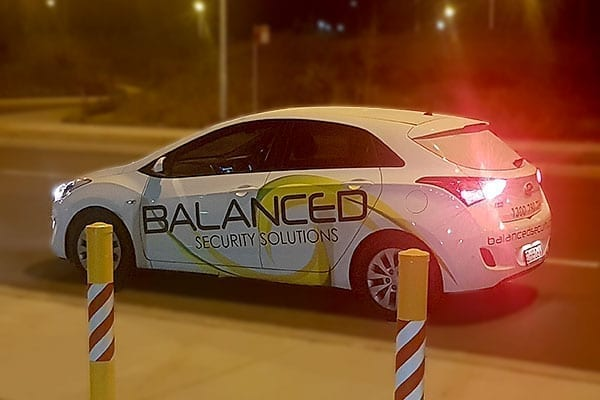 balanced security car on patrol